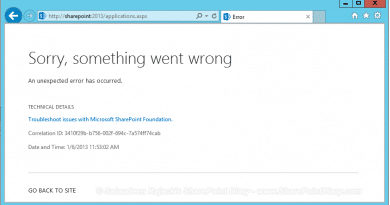 sharepoint 2013 sorry something went wrong correlation id powershell to get detailed error from uls log correlation id 390x205