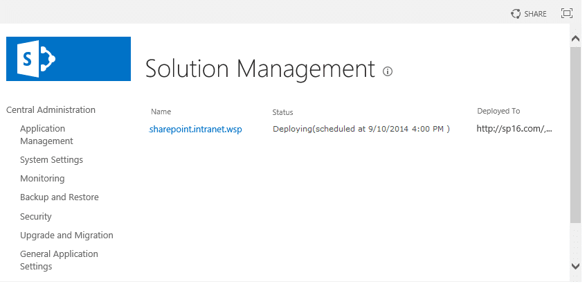 sharepoint wsp stuck in deploying