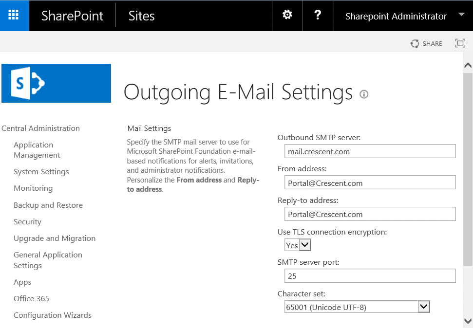 sharepoint 2016 configure outgoing email powershell