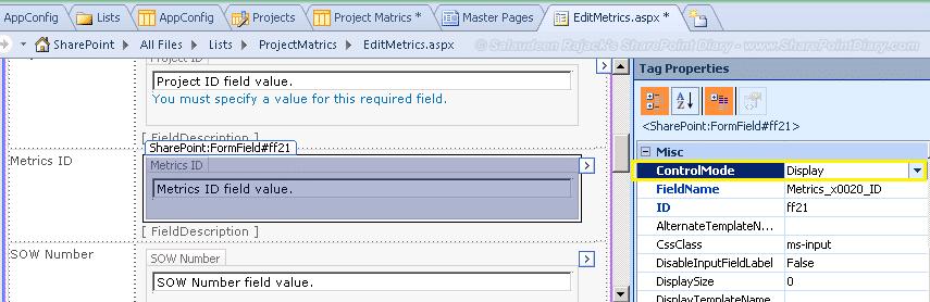 sharepoint designer 2010 make field read only