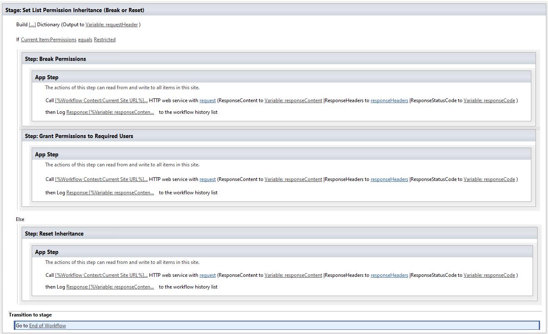 sharepoint designer workflow set item permissions using REST