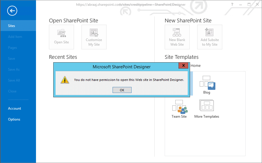 sharepoint online you do not have permission to open this web site in sharepoint designer