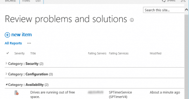 sharepoint health analyzer drivers are running out of free space 390x205