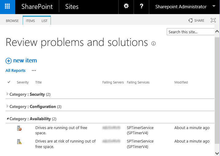 SharePoint Health Analyzer detected an error - Drives are running out of free space