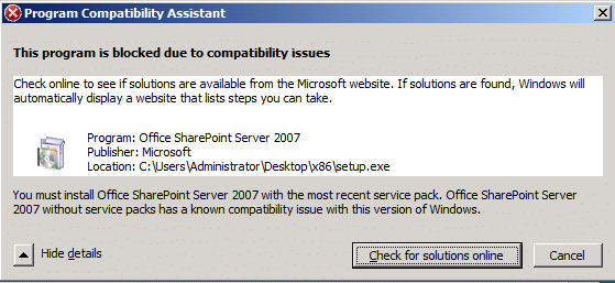 sharepoint on Windows Server 2008 R2 - This program is blocked due to compatibility issues