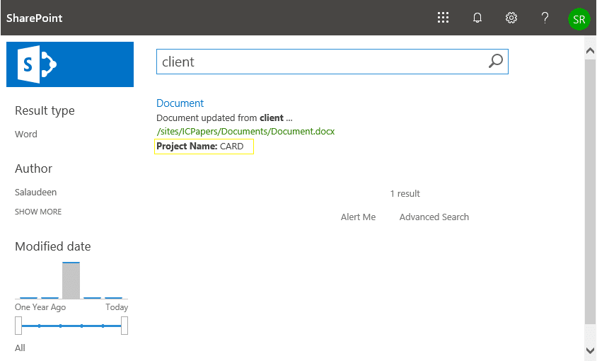 sharepoint online add metadata property to search results