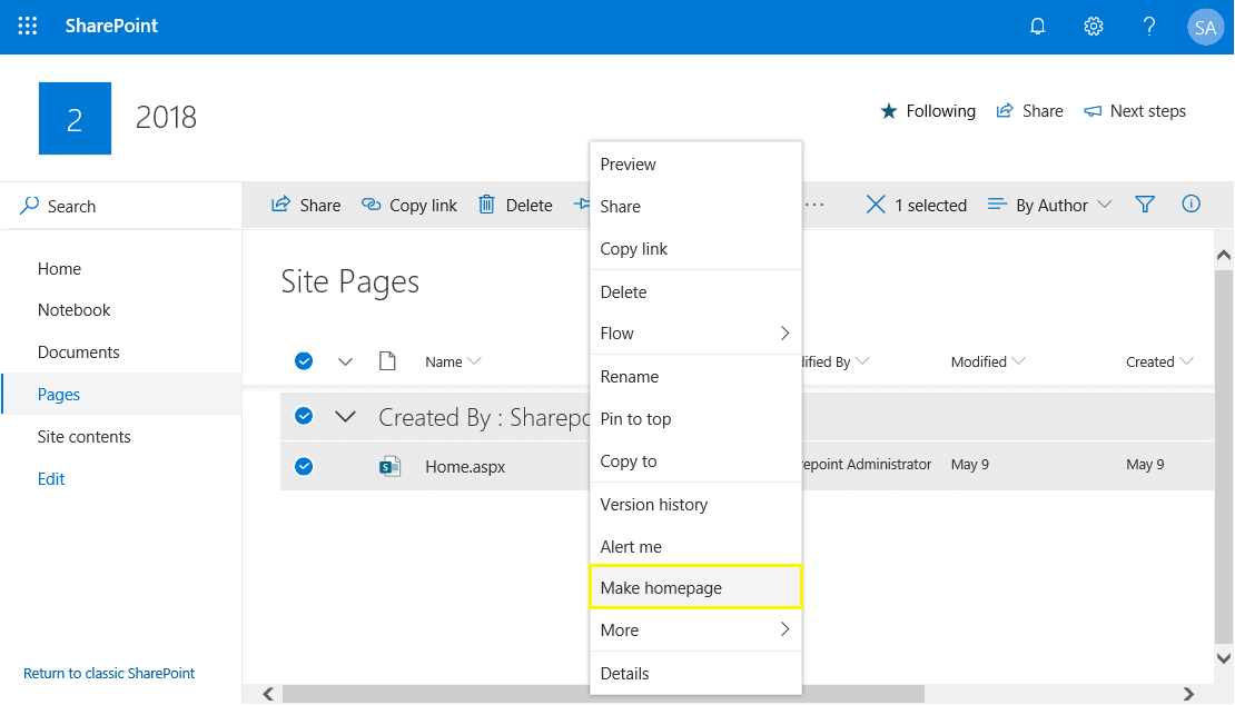 sharepoint online change home page to modern sites