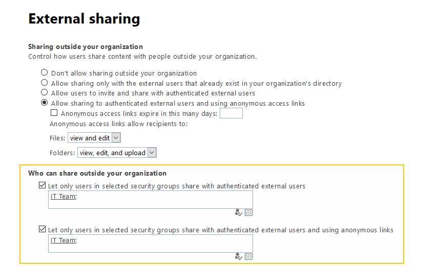 sharepoint online classic external sharing settings