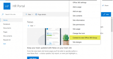 sharepoint online connect to new office 365 group