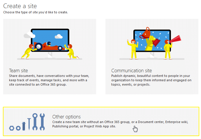 sharepoint online create modern site without group