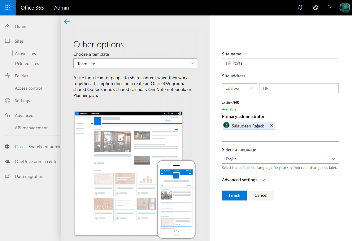 sharepoint online create modern team site collection