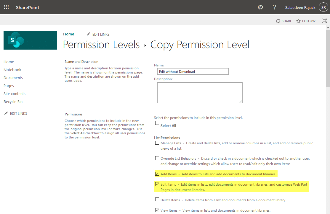 sharepoint online create permission level to edit without download