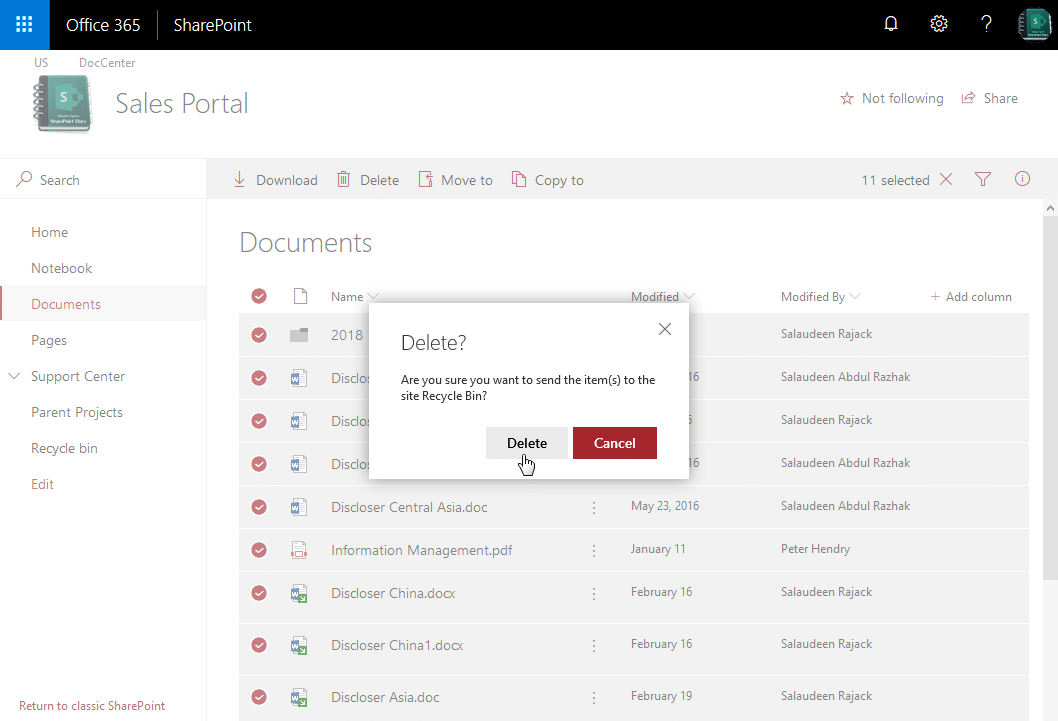 sharepoint online delete all documents in library