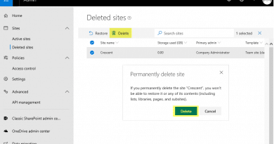 sharepoint online delete site collection from recycle bin 390x205