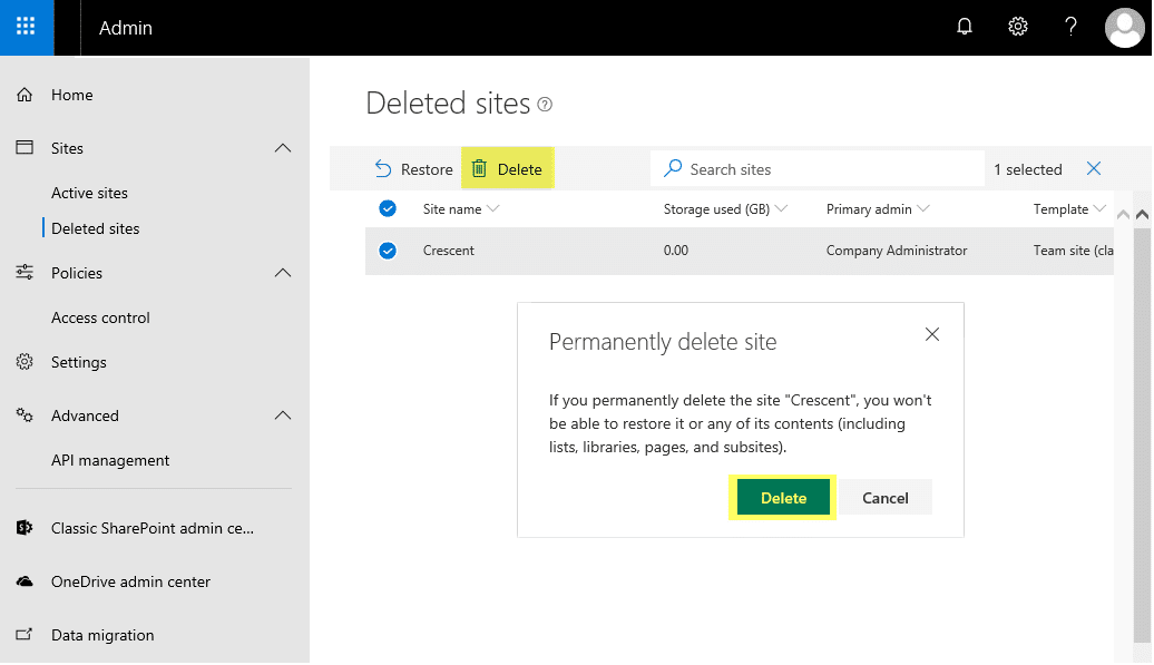 sharepoint online delete site collection from recycle bin powershell