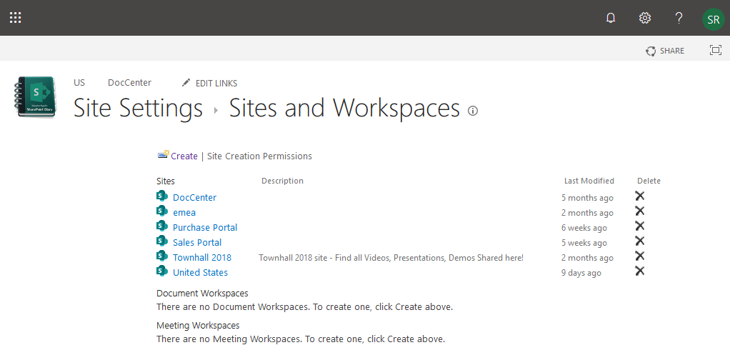 sharepoint online delete subsite using sites and workspaces