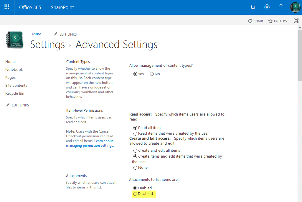 sharepoint online disable attachments in list using powershell
