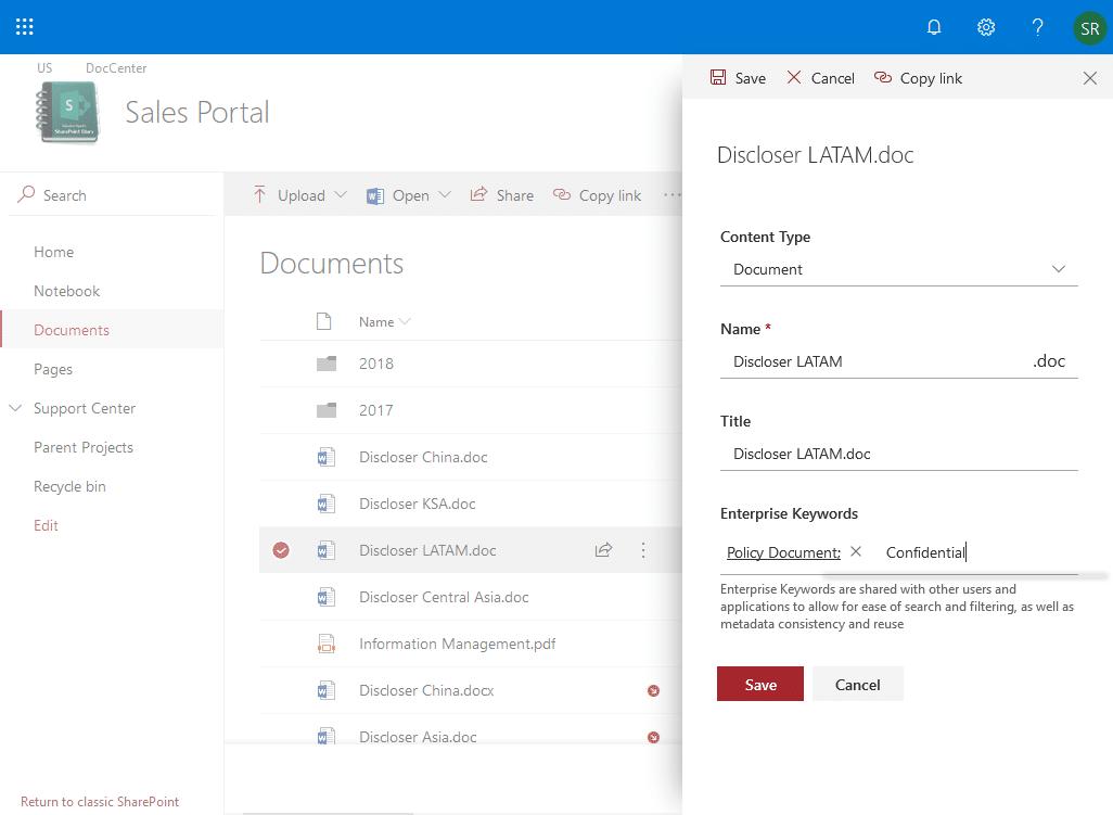 sharepoint online enterprise metadata and keywords settings
