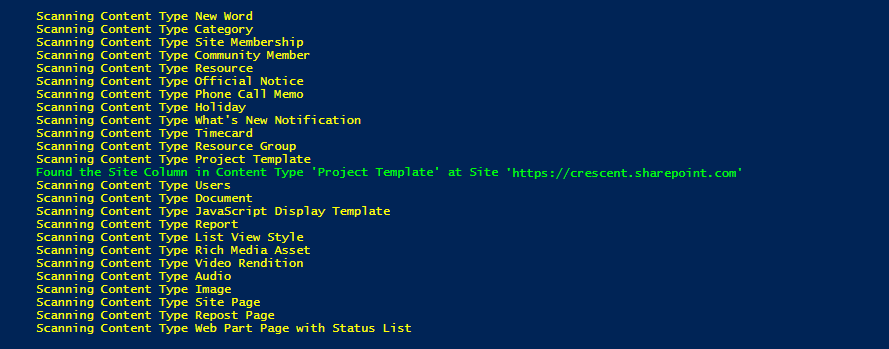 sharepoint online find site column usage in content types