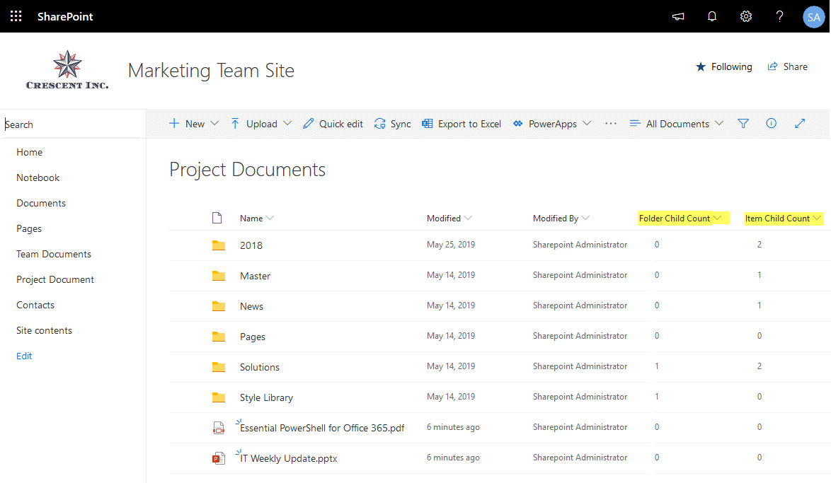 sharepoint online get number of files folders at each level