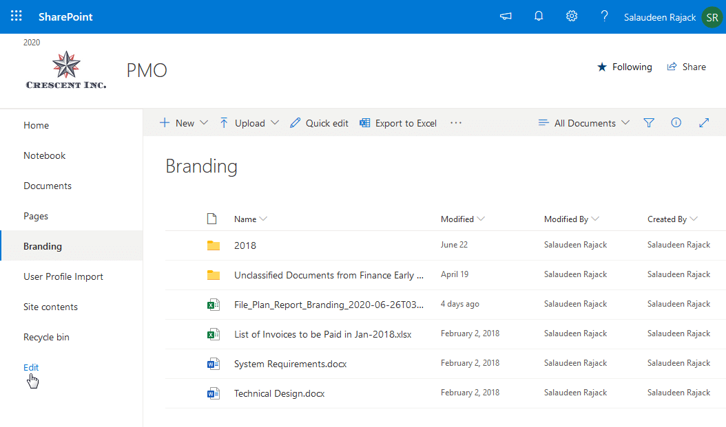 sharepoint online hide site contents from quick launch