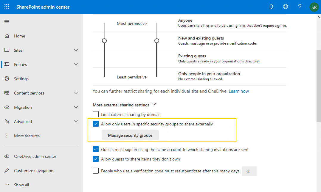 sharepoint online limit external sharing to security group