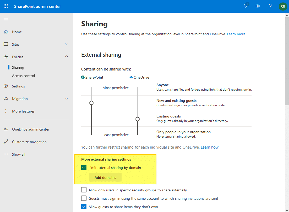sharepoint online limit external sharing using domains
