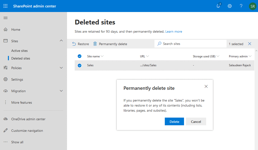 sharepoint online permanently delete site collection powershell