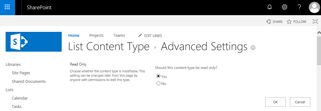 sharepoint online powershell content type read only
