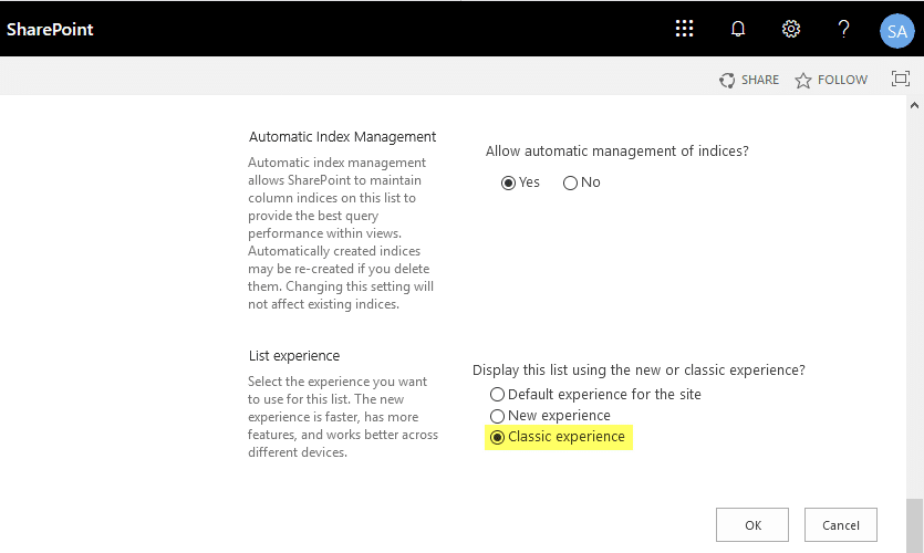 sharepoint online powershell disable modern experience