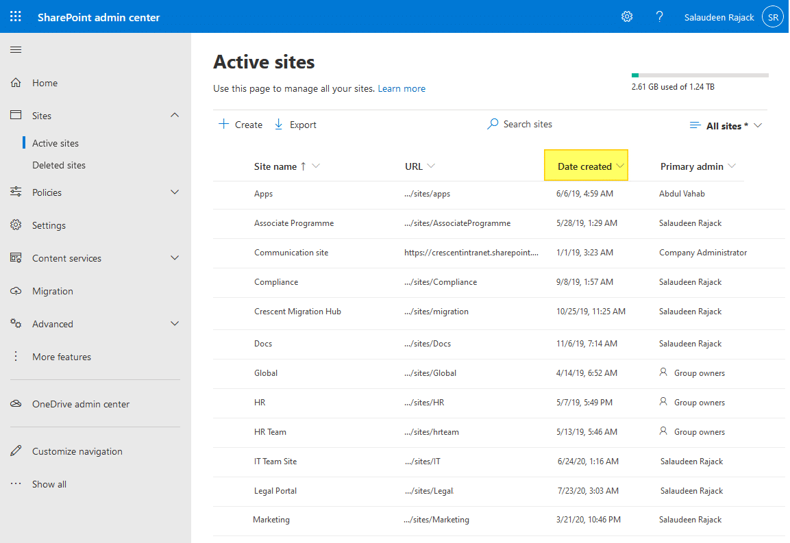 sharepoint online powershell get site collection created date