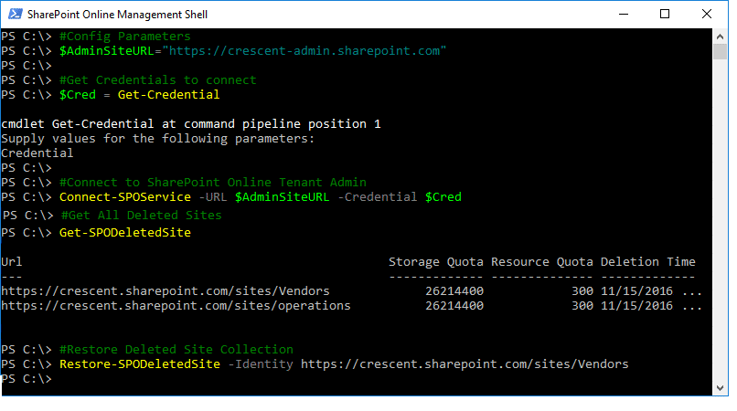 sharepoint online powershell restore site collection