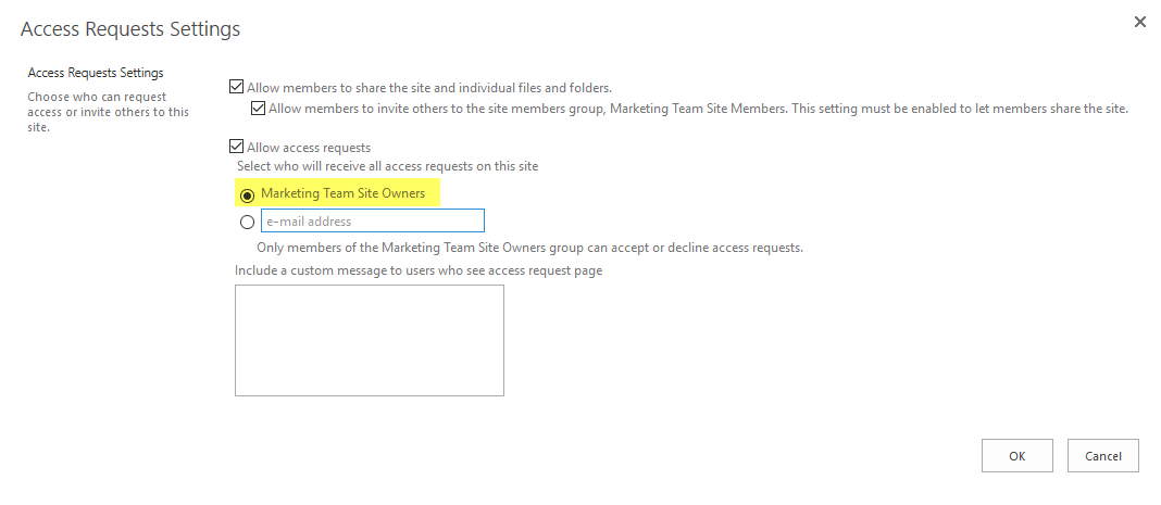 sharepoint online powershell set access request email