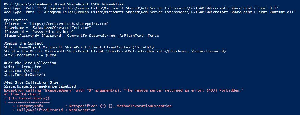 sharepoint online powershell the remote server returned an error (403) forbidden