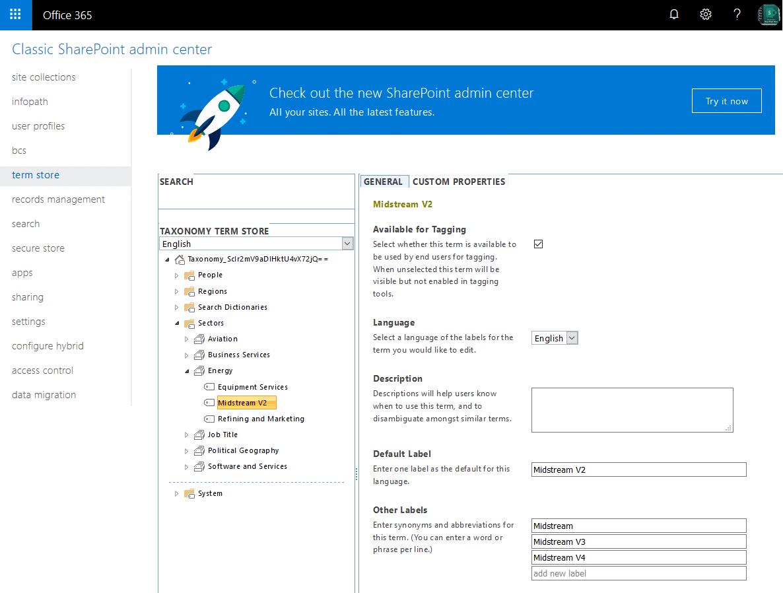 sharepoint online powershell update term label