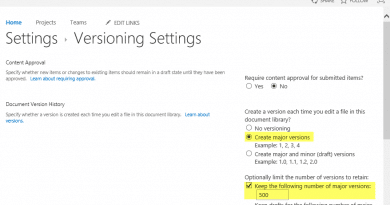 sharepoint online powershell to enable versioning in document library 390x205