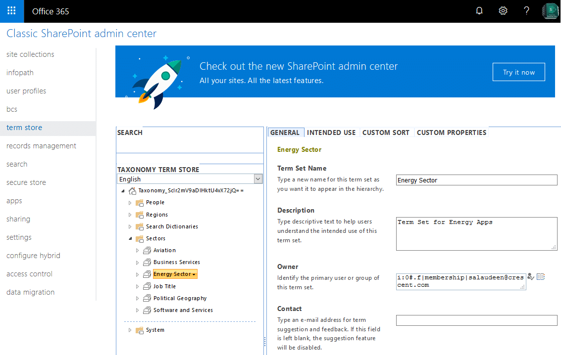 sharepoint online powershell to set term set name, description and tagging options