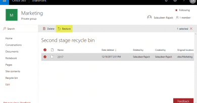 sharepoint online restore subsite from recycle bin 390x205