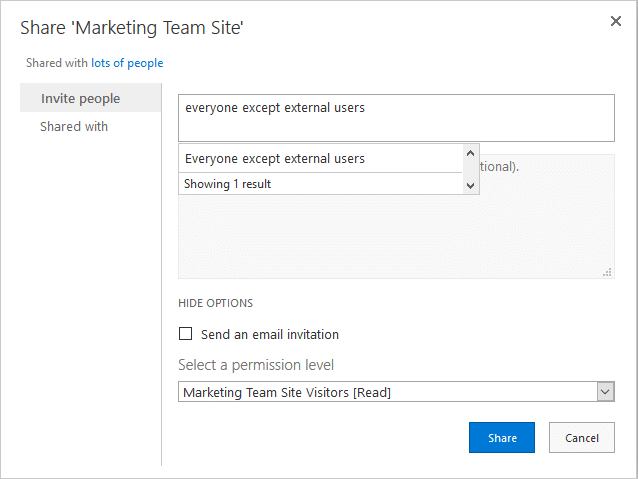 sharepoint online share with everyone except external users