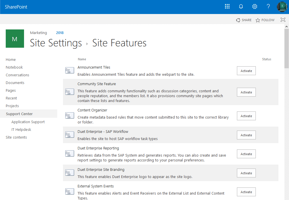 sharepoint online site collection features powershell