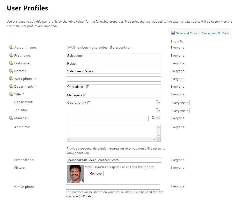 sharepoint online sync user profile property powershell