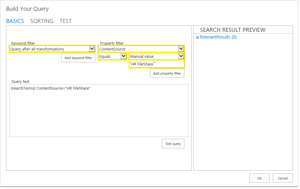 sharepoint search result limit - set result source query