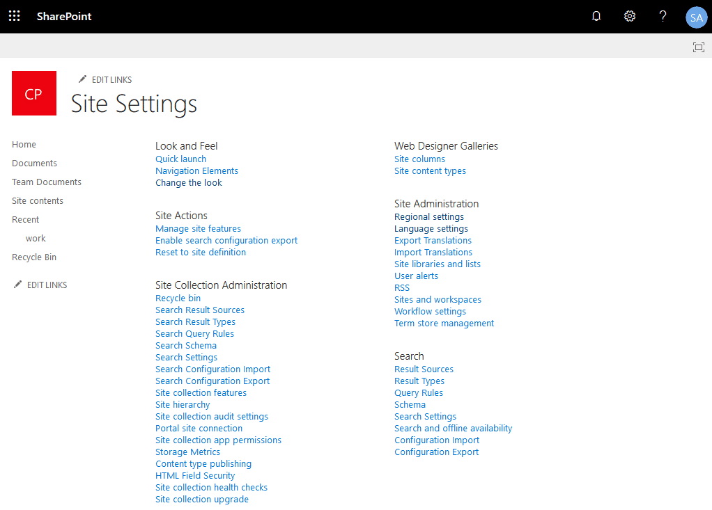 site settings page with DenyAddAndCustomizePages enabled