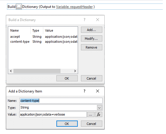 step 1 build dictionary object for request header