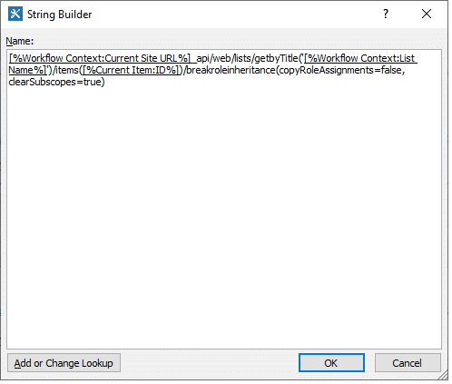step 2.1 build string for REST Web Service call