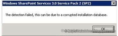 The detection failed, this can be due to a corrupted installation database