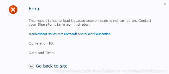 """""""This report failed to load because session state is not turned on"""" - Access Services issue in SharePoint 2010"""