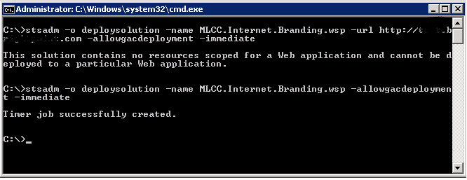 This solution contains no resources scoped for a Web application and cannot be deployed to a particular Web application
