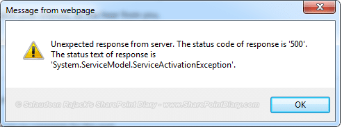 unexpected response from server the status code of response is 500