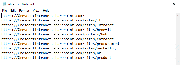 upload list template to multiple sites from CSV file